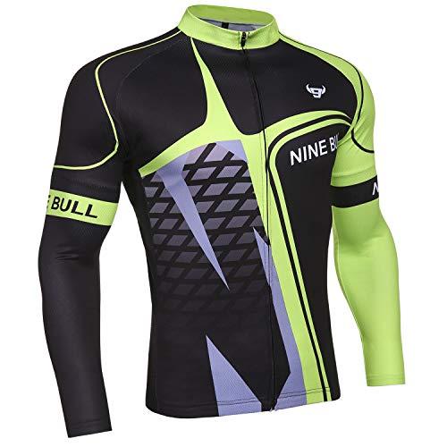 nine bull Fahrradtrikot für Herren, langärmlig, mit 3 Rückentaschen, feuchtigkeitsableitend, atmungsaktiv, schnell trocknend - Gr�n - Mittel