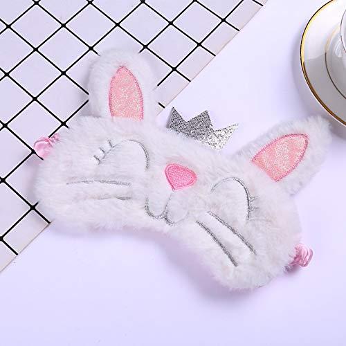 Leuke grijze kat lange oor konijn oog masker pluche slapen masker oogschaduw cover blinddoek bril oogschaduw reizen huis cadeau Wit Konijn