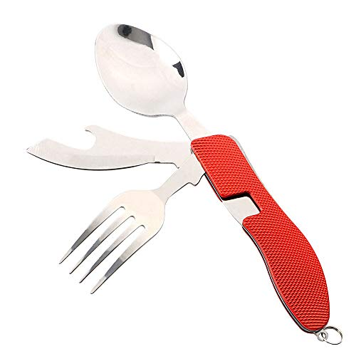 QitinDasen Premium 4 in 1 Folding Cutlery, Detachable 4 in 1 Folding Tableware, Stainless Steel Folding Camping Flatware Knife Fork Spoon and Bottle Opener (Red)