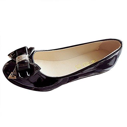 Ballerines Femme Chaussures Plates Cuir Vernis Noire Round Toe Ballet Flat Doux Slippers Nœud Papillon Loafers Mocassins pour Mariage/Soirée/Fête