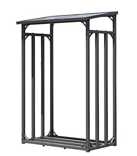 GRASEKAMP Qualität seit 1972 Kaminholzunterstand 130 x 70 x 203 cm Kaminholz Regal Kamin Holzofen Aussen Doppelstegplatten Stapelhilfe