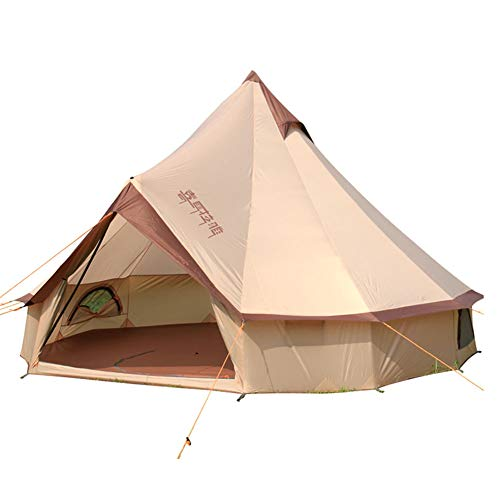EQS Bell Tipi Tents,3-10 Person Round Teepee Waterproof Outdoor Tent for Camping Groups Family Garden,150D Oxford Cloth(Coffee)