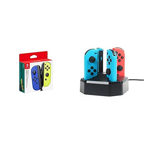 Nintendo Joy-Con 2er-Set, blau/neon-gelb & Amazon Basics Ladestation für 4 Joy-Con-Controller der Nintendo Switch, 0.792M langes Kabel, Schwarz