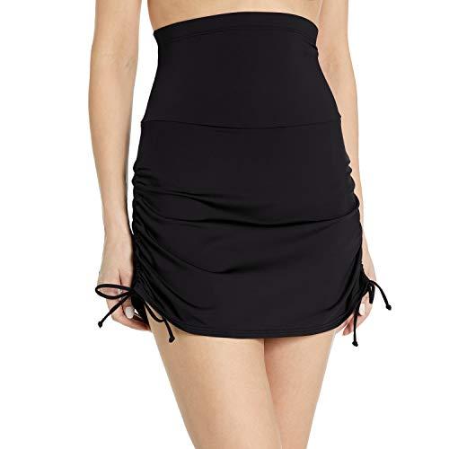Anne Cole Women's Super High-Waist Shape Control Skirt Bikini Bottom Swimsuit, Black, Large