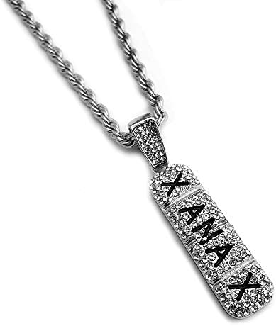 BLINGFACTORY Hip Hop Iced Lab Diamond Xanax Pendant 4mm 24 Rope Chain Necklace product image