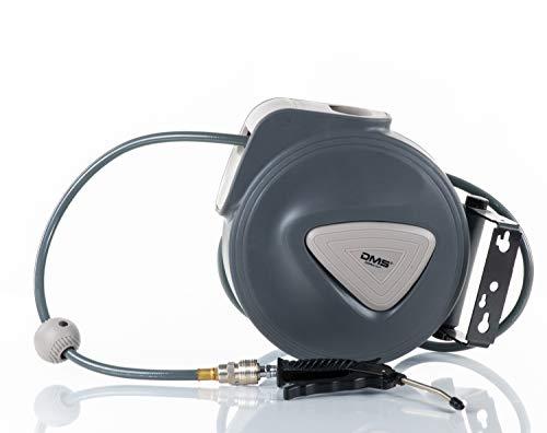 DMS Druckluftschlauch Aufroller Automatik Schlauchtrommel EU 1/4 Trommel Wandschlauchhalter Schlauchaufroller Druckluftschlauch-Aufroller Druckluftschlauch-trommel DST (30 Meter, Grau)