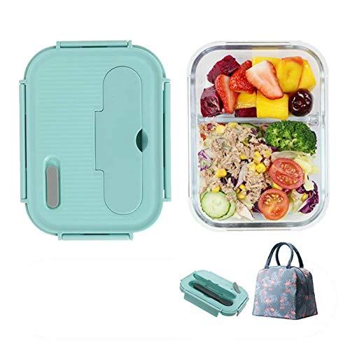 Bocal Alimentaire Thermo DUDDP Lunch Box 2/3 compartiment, bureau extérieur, Portable Chauffage Bento Box multifonction Pique-nique thermique, Vert (Color : Blue, Size : 3compartments)