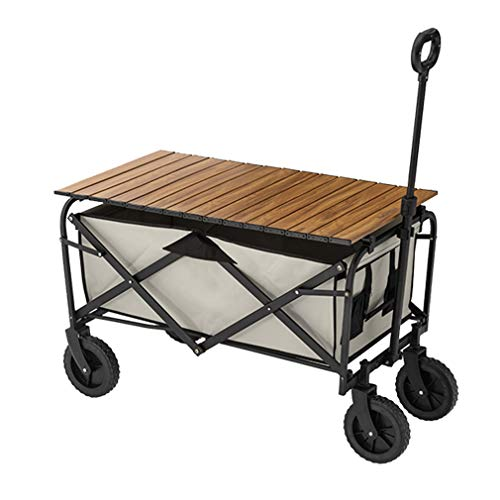 EDANQ Outdoor Camping Cart,Collapsible Shopping Wagon,Grocery Cart with Wheels for Garden Fishing Camping, 41.3X20.4X40.1,with Wood Grain Table Board
