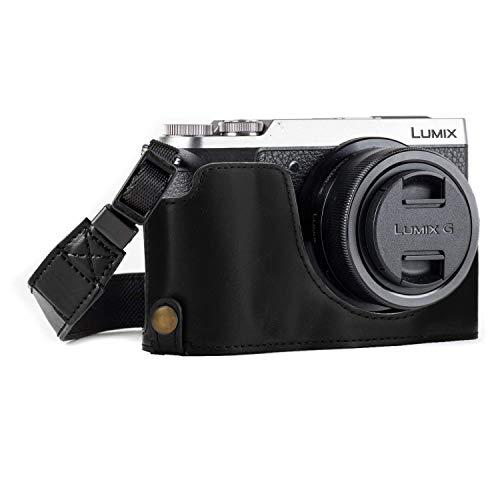 MegaGear Ever Ready Leder Kamera Halbtasche mit Trageriemen und Batteriezugang für Panasonic Lumix DMC-GX85, GX80 schwarz