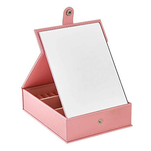 Caja de almacenamiento de la joyería Joyero Organizador Escaparate Bloqueo Armario Moda Exquisito Joyero de cuero Hecho a mano Joyero de viaje Caja de almacenamiento Estante Caja ( Color : Pink )