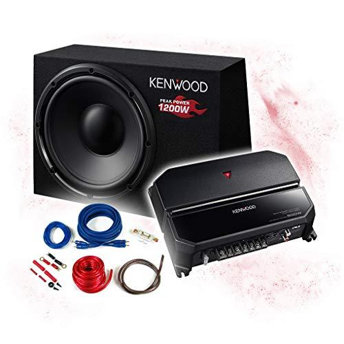 KENWOOD Basspaket 2-Kanal Endstufe/Verstärker+30cm Subwoofer+Kabel-Set - 1200W / KSC-W1200B - KAC-PS702EX + REN10KIT