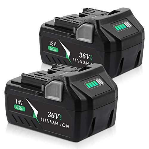 Jialipok 36V/18V 6.0Ah Li-Ion Replacement Battery for Metabo HPT MultiVolt 36V/18V 371751M 372121M BSL36A18 BSL36B18 Cordless Power Tools(2PACK)