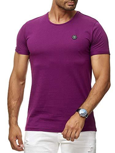 Red Bridge Herren T-Shirt Basic Kurzarm Shirt Baumwolle Rundhals Umgekrempelt M1303 Lila XL