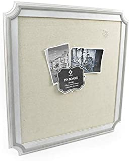 Concepts in Time 18x18 White Scallop Corners MDF Linen Pin Board