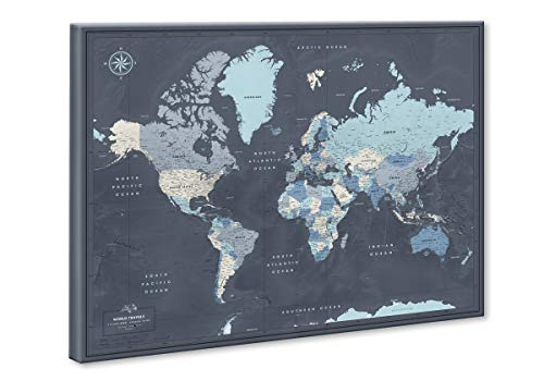 """World Map on Canvas with Pins   Personalized World Map Pin Board   Modern Navy Push Pin Map Design   24"""" x 32"""" up to 40"""" x 53"""""""