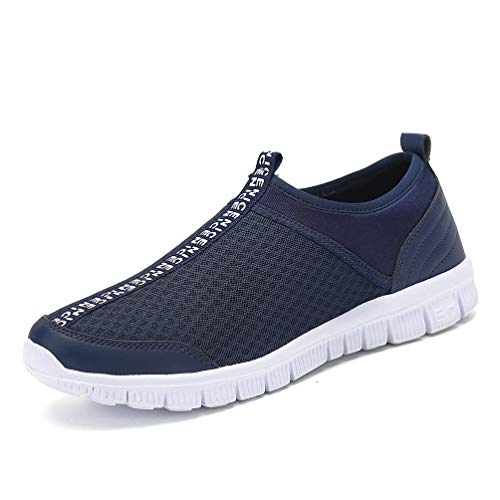 JINDENG Sportschuhe Unisex Leichte Atmungsaktive Anti-rutsch Wanderschuhe Anti-rutsch Slip on Casual Schuhe für Damen Herren(dunkelblau-A,42)