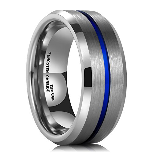 King Will 8mm Thin Blue Groove Matte Brushed Tungsten Carbide Ring Wedding Band High Polish Comfort Fit 7.5