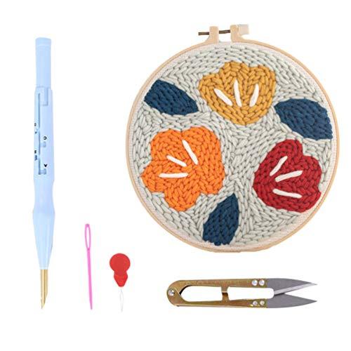 EXCEART Kit de Inicio de Aguja Perforadora Aguja Perforadora para Principiantes Kit de Enganche de Alfombra DIY para Decoración Del Hogar Patrón de Flores Vintage