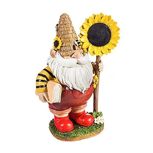 N\B Sonnenblume Biene Zwerg Statue, Gartenskulptur Dekoration aus Harzmaterial, geeignet für Zuhause, Garten, Desktopdekoration, Geschenkhandwerk Statue