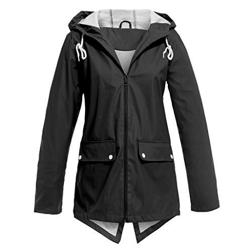 QingJiu Damen Einfarbig Jacke im Freien mit Kapuze Knopf Wasserdicht Dame Langarm Mantel Winddicht Mantel