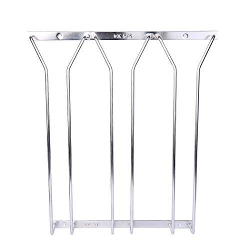 Dianoo 3 filas estante de vidrio de vino estante colgante de alambre soporte de estante de acero inoxidable debajo del gabinete 35CM