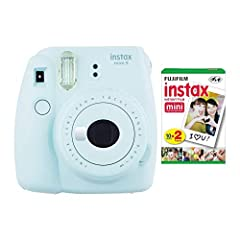 BUNDLE INCLUDES: Fujifilm instax Mini 9 Instant Camera (Ice Blue) and one Mini Film Twin Pack (20 Sheets) COMPACT AND LIGHTWEIGHT DESIGN: Snaps and prints pictures that fit in your wallet. Compact and lightweight design MACRO LENS AND SELFIE MIRROR: ...