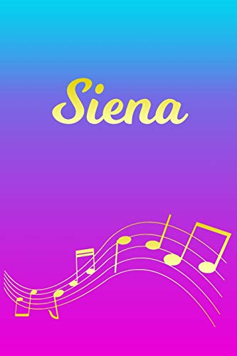 Siena: Sheet Music Note Manuscript Notebook Paper – Pink Blue Gold Personalized Letter S Initial Custom First Name Cover – Musician Composer … Notepad Notation Guide – Compose Write Songs