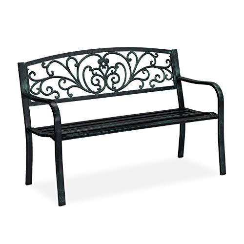 Relaxdays Banc de Jardin Antique, 2 Personnes, Balcon, terrasse, Protection Anti Rouille, en métal, 81x127x56,5x63cm, Acier, Fonte, Noir-Vert