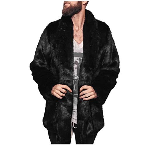 Pelzmantel Kunst Felljacke Herren,Daysing Winterjacke Mantel Kunstpelz Lange Jacke Faux Fur