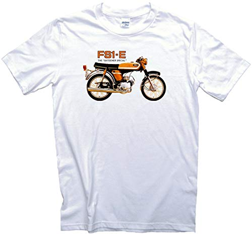 Funkyzilla FS1-E Vintage Sports Moped T-Shirt. Adults/Mens Sizes. Sixteener Special Classic Motorcycle Motorbike-Large White