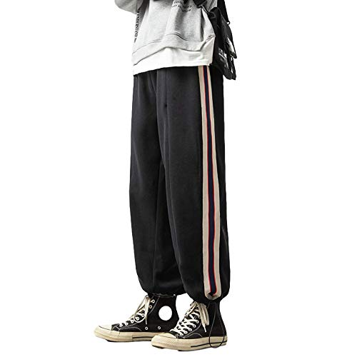 Mens Jogging Bottoms - Striped Casual Pants Elasticated Waist Drawstring Adjustable Ankle Opening Workout Running Sweatpants XXL Black