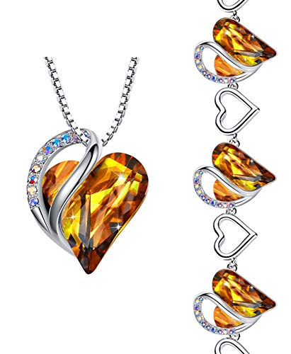 Leafael Infinity Love Crystal Heart Bundle Jewelry Set Amber Brown November Birthstone, Silver-tone