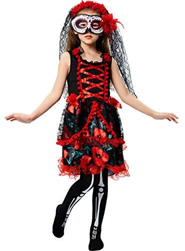Tacobear Zuckerschädel Kostüm für Kinder Mädchen Tag der Toten Kostüm Skeleton Zombie Braut Kostüm Halloween 7-12 Jahre (7-8 Jahre)