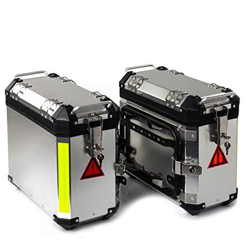 Paar Motorrad Seitenkoffer A-PRO Aluminium 2x30L Silber