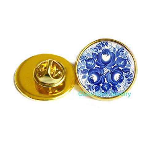 Broche de gzhel, diseño ruso azul, joyería de arte ruso, broche folk ruso, joyería étnica, broche étnico, Q0114