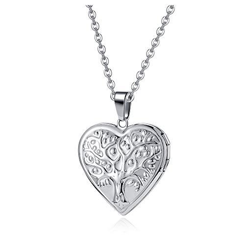 Jovivi Heart Shape Locket Pendant Necklace Te Amo Stainless Steel Women Men Vintage Jewellery Holds Photo Locket Necklace