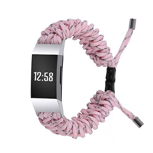 Jennyfly Gewebtes Armband für Fitbit Charge4/3/3 SE, Ersatz-Sportuhr, geflochtenes Band, weiches Armband, passend für 15 - 21,8 cm Handgelenk, kompatibel mit Fitbit Charge 4/3/3 SE – Pink