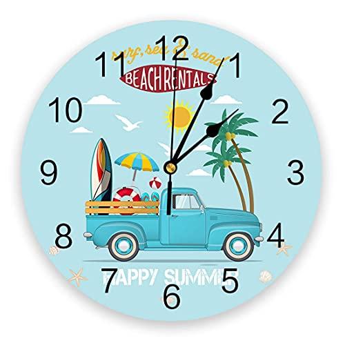 Reloj de pared redondo, sin tictac, silencioso, para colgar en la pared, feliz verano, coche azul con aro salvavidas de tabla de surf y decoración de pared de bolas para cocina, sala de estar, dormito