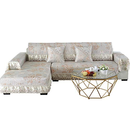 YUTJK Cubierta Personalizable de sofá de Falda de Verano,Dos Plazas Antideslizante Funda para Sofá,Universal Acolchado Funda,Cubre Sofá para Chaise Long Rinconera,Beige_88×180cm+15cm