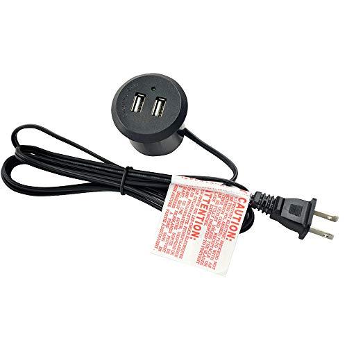 Arandela de alimentación para Escritorio, Toma de Datos de Escritorio con 2 tomacorrientes de CA y 2 Puertos USB, Cable de alimentación Resistente de 6 pies (Enchufe Redondo)
