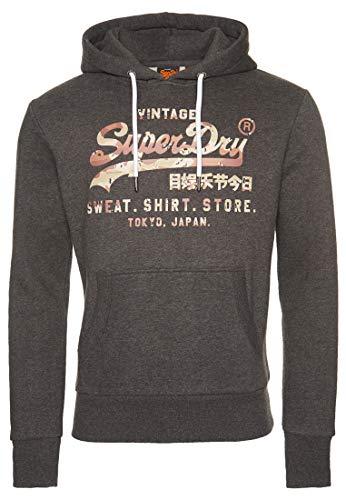 Superdry Herren Vintage Logo Sweat Shirt Store Infill Hoodie Grafit Dunkel Meliert M