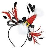 "amscan 393223 Santa Hat Bow and Feather Fashion Headband, 11"" x 8"""
