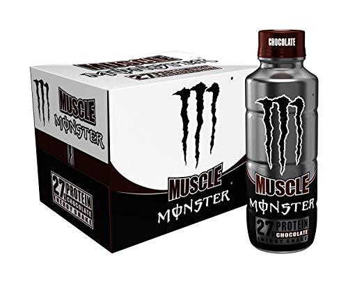 Muscle Monster - Batido energético de chocolate, proteína y bebida energética, 15 onzas (paquete de 12)
