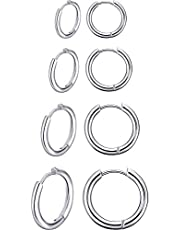 4 Paia Orecchini a Cerchio in Acciaio Inox Anelli di Naso Labbro Orecchini a Cerchio di Cartilagine Piccoli per Uomo Donna, 8 mm, 10 mm, 12 mm, 14 mm