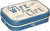 Nostalgic-Art 81388 Happy Wife Happy Life | Pillen-Dose | Bonbon-Box | Metall | gefüllt mit Pfefferminz-Dragees