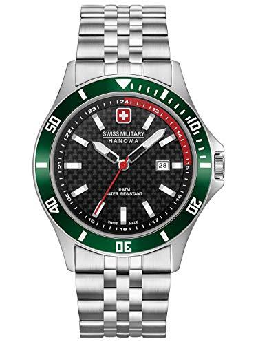 Swiss Military Hanowa Unisex Erwachsene Analog Quarz Uhr mit Edelstahl Armband 06-5161.2.04.007.06