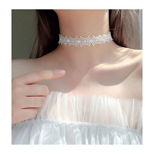 ZNZNN Collar de Cuello de Encaje de Las señoras, Collar de Cuello de clavícula de Plata esterlina S925, Regalo del día de San Valentín/Regalo de la Madre Regalo de Collar de Moda (Color : White)