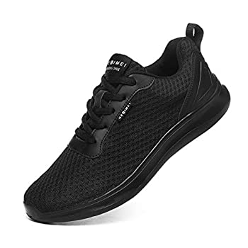 GESIMEI Men s Breathable Mesh Tennis Shoes Comfortable Gym Sneakers Lightweight Athletic Running Shoes  10.5 M US All Black Upgrade