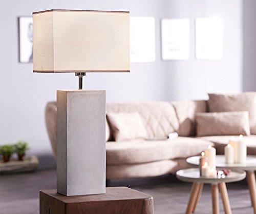 DELIFE Tischlampe Carissima 30x20 cm Grau Betonfuß rechteckig Schirm Stoff Tischleuchte