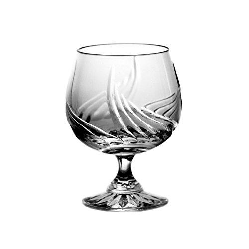 Crystaljulia 5796 Lot de 6 Verres à Cognac, Cristal au Plomb, Motif Oignon, Finition à la Main, 170 ML